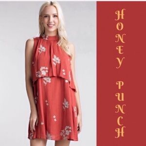 Honey Belle Floral Embroidered Layered Mini Dress